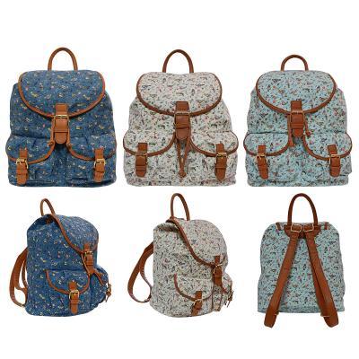 Купить Городской рюкзак Action! ПТИЦЫ голубой синий серый принт, серый, синий, голубой, принт, ткань, искусственная кожа, Ранцы, рюкзаки и сумки
