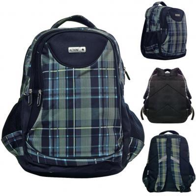 Школьный рюкзак с рельефной спинкой Action! черный рисунок  AB11101