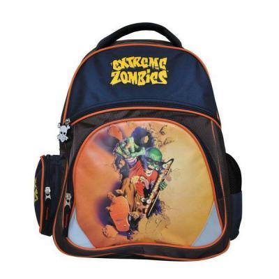 Школьный рюкзак с уплотненной спинкой Action! EXTREME ZOMBIES коричневый синий  EZ-AB11071/1