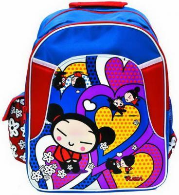 Школьный рюкзак с уплотненной спинкой Action! Pucca синий красный PU-ASB5001/2 PU-ASB5001/2
