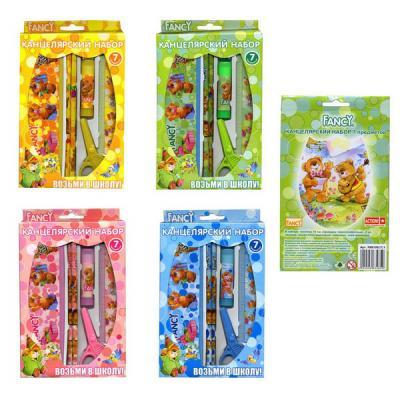 Набор канцелярский FANCY, 7 предметов, в картонной упаковке, ассорти 4 цвета FSS105/7/1