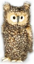 Мягкая игрушка сова Hansa Сова (голова поворачивается) искусственный мех синтепон серый бежевый белый 34 см 4466