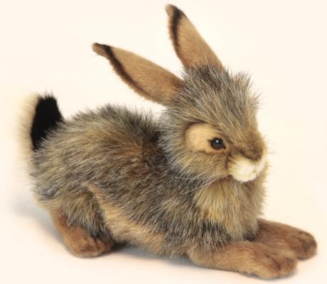 Мягкая игрушка кролик Hansa Кролик черный искусственный мех синтепон пластик разноцветный 25 см 6284