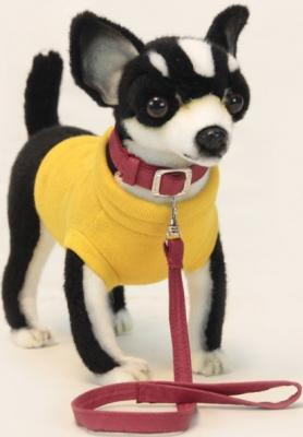 Мягкая игрушка собака Hansa Чихуахуа черная искусственный мех синтепон черный 27 см 6384