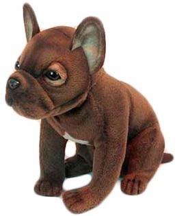 Мягкая игрушка собака Hansa Щенок французского бульдога искусственный мех синтепон коричневый 20 см 6593