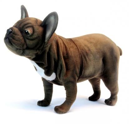 Мягкая игрушка собака Hansa Французский бульдог, стоящий искусственный мех синтепон коричневый 26 см 6594 цена