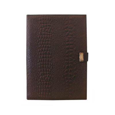 Ежедневник, недатиров., ф.А5, тисненая кожа, с кнопкой, лин., 160 лист, коричневый