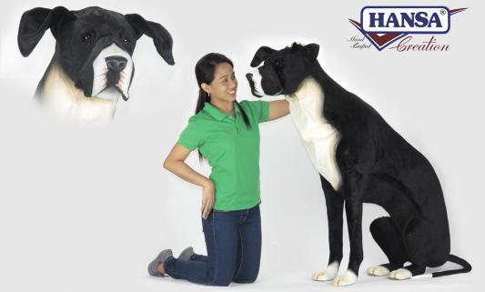 Мягкая игрушка собака Hansa Немецкий дог сидящий искусственный мех синтепон черный белый 123 см 6835