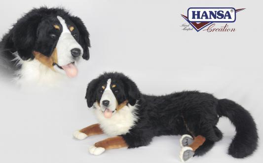Мягкая игрушка собака Hansa Бернский зенненхунд лежащий искусственный мех черный 120 см 6846