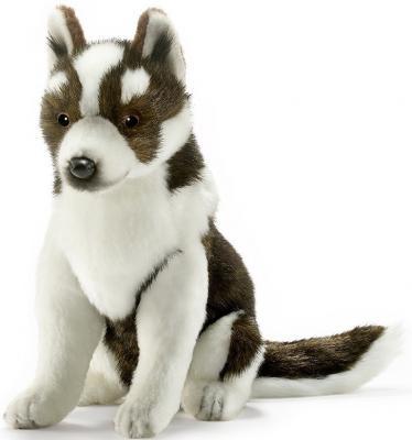 Мягкая игрушка собака Hansa Щенок хаски искусственный мех синтепон белый коричневый 25 см 5269