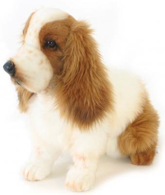 Мягкая игрушка собака Hansa Кокер-Спаниель искусственный мех синтепон пластик рыжий белый 28 см 5275