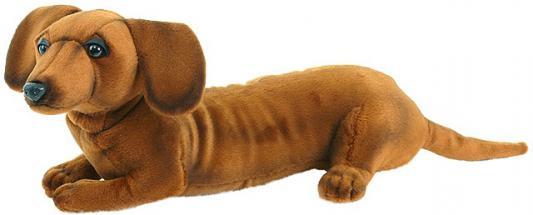 Мягкая игрушка собака Hansa Щенок таксы искусственный мех синтепон коричневый 40 см 3972