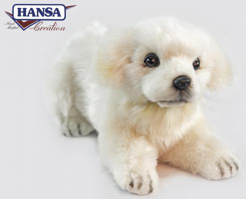 Мягкая игрушка щенок Hansa Hansa Щенок Маремма-Абруцкой овчарки, лежащий искусственный мех синтепон белый 33 см 6958