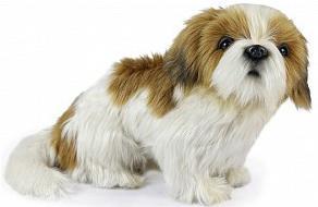 Мягкая игрушка собака Hansa Собака Ши-тцу искусственный мех синтепон белый коричневый 25 см 7030