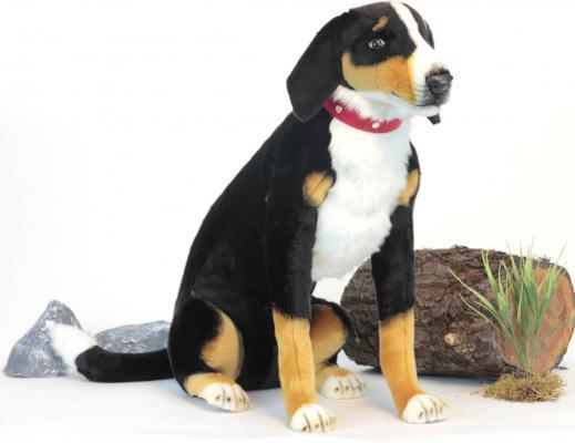 Мягкая игрушка собака Hansa Собака Аппенцеллер сидящий искусственный мех черный белый коричневый 66 см 6066