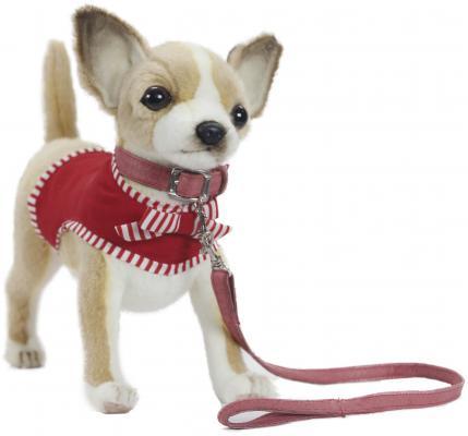 Мягкая игрушка собака Hansa Чихуахуа синтепон искусственный мех белый бежевый 27 см 6383