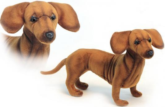 Мягкая игрушка собака Hansa Такса стоящая искусственный мех синтепон коричневый 42 см 6420