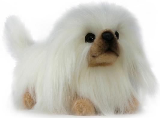 Мягкая игрушка собака Hansa Пекинес искусственный мех синтепон белый коричневый 28 см 3419