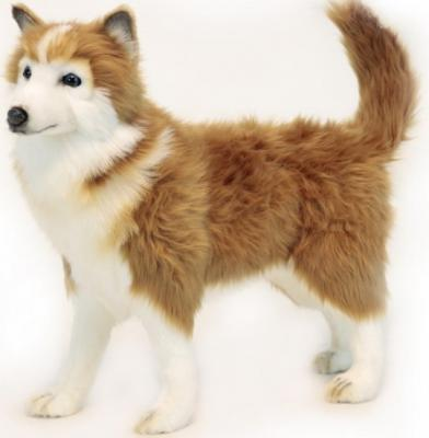 Мягкая игрушка собака Hansa Хаски коричневая искусственный мех синтепон коричневый 50 см 6494