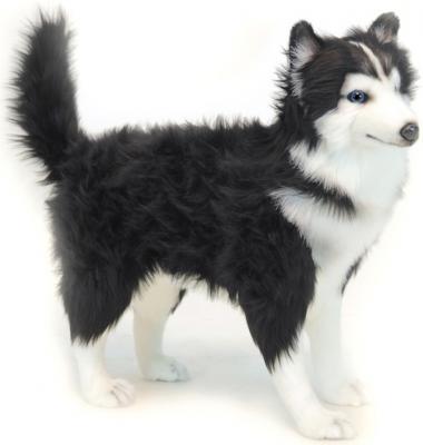 Мягкая игрушка собака Hansa Хаски чёрно-белая искусственный мех синтепон белый черный 56 см 6495 малышарики мягкая игрушка собака бассет хаунд 23 см