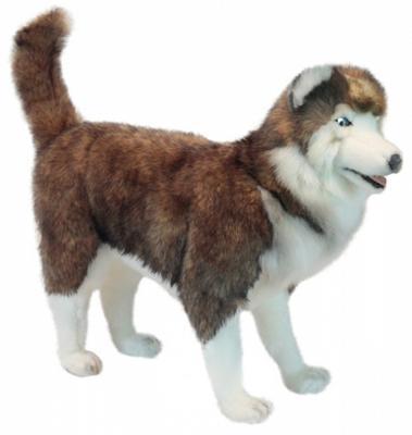 Мягкая игрушка собака Hansa Хаски синтепон искусственный мех белый коричневый 75 см 6031