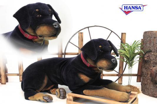 Мягкая игрушка собака Hansa Ротвейлер искусственный мех синтепон рыжий черный 92 см 3992