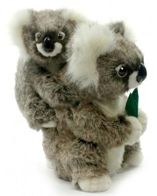 Мягкая игрушка коала Hansa Коала с детенышем искусственный мех синтепон пластик белый серый 28 см 2728