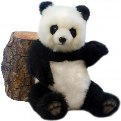Мягкая игрушка панда Hansa Панда искусственный мех синтепон белый черный 38 см 4479П