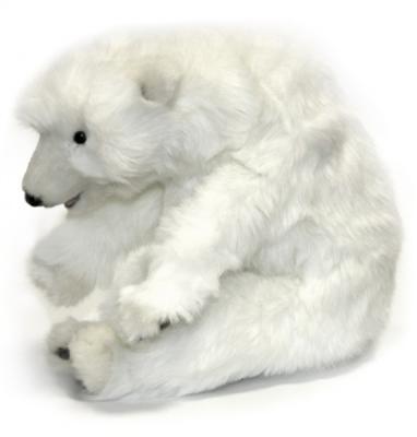 Мягкая игрушка медведь Hansa Медвежонок спящий искусственный мех белый 30 см 5260