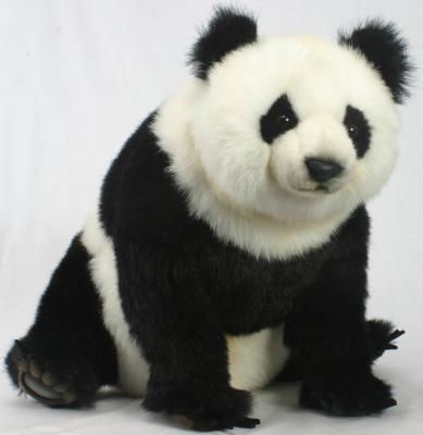 Мягкая игрушка панда Hansa Панда сидящая искусственный мех синтепон белый черный 51 см 3854