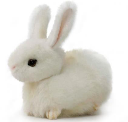 Мягкая игрушка заяц Hansa Заяц искусственный мех синтепон пластик белый 17 см 2832