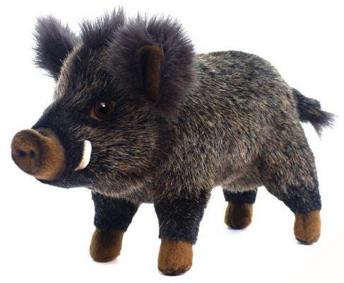 Мягкая игрушка кабан Hansa Кабан искусственный мех синтепон пластик коричневый черный 29 см 2830