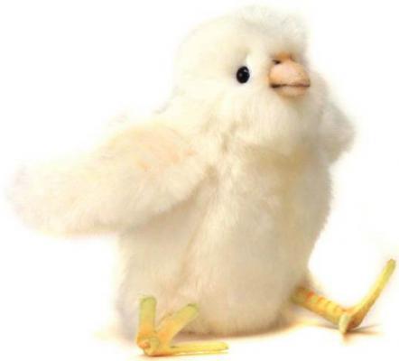 Мягкая игрушка цыпленок Hansa Цыпленок искусственный мех синтепон белый желтый 13 см 4811