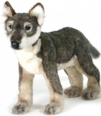 Мягкая игрушка кенгуру Hansa Щенок волка стоящий искусственный мех синтепон серый белый черный 30 см 4567