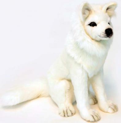 Мягкая игрушка волк Hansa Волк белый сидящий искусственный мех белый 38 см 6320