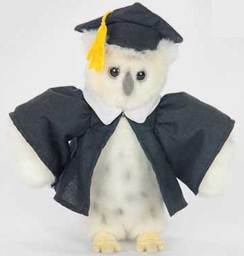 Мягкая игрушка сова Hansa Сова выпускник искусственный мех синтепон белый 18 см 6326