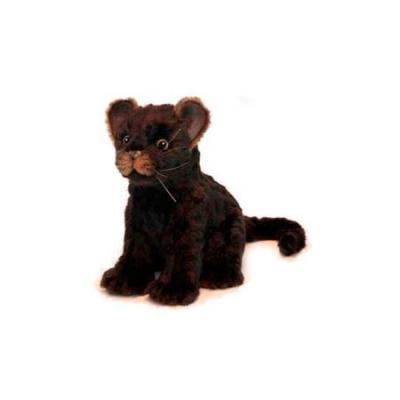Мягкая игрушка ягуар Hansa Детеныш ягуара искусственный мех синтепон пластик коричневый 20 см 6716