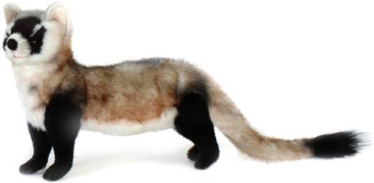 Мягкая игрушка хорек Hansa Хорек чернолапый искусственный мех синтепон черный серый белый 28 см 5196