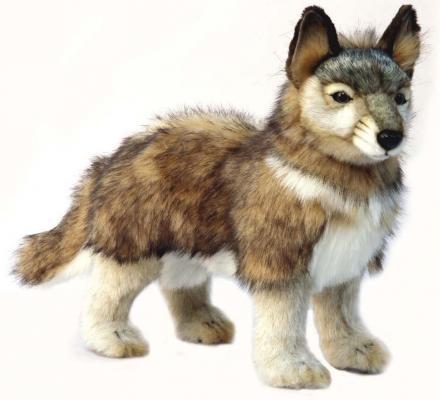 Мягкая игрушка волк Hansa Волчонок стоящий искусственный мех синтепон серый 44 см 4292