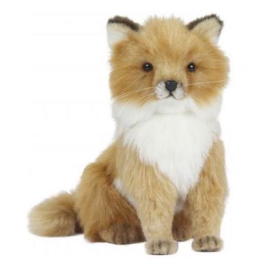 Мягкая игрушка лисица Hansa Лисица искусственный мех пластик рыжий 24 см 6996