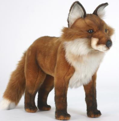 Мягкая игрушка лисица Hansa Рыжая лиса искусственный мех синтепон рыжий 56 см 5728