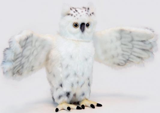 Мягкая игрушка сова Hansa Сова белая летящая искусственный мех синтепон белый 60 см 6398