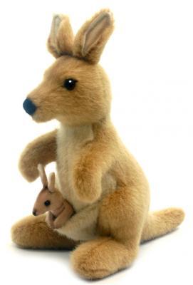 Мягкая игрушка кенгуру Hansa Кенгуру искусственный мех синтепон коричневый 20 см 3424