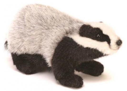Мягкая игрушка барсук Hansa Барсук искусственный мех черный серый 30 см 4567
