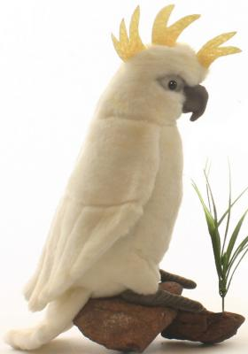 Мягкая игрушка попугай Hansa Большой белохохлый какаду искусственный мех белый 22 см 3916 игрушка hansa попугай 37cm yellow 3323
