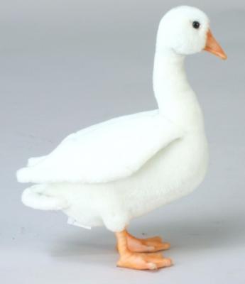 Мягкая игрушка птица Hansa Гусь искусственный мех белый 26 см 4945