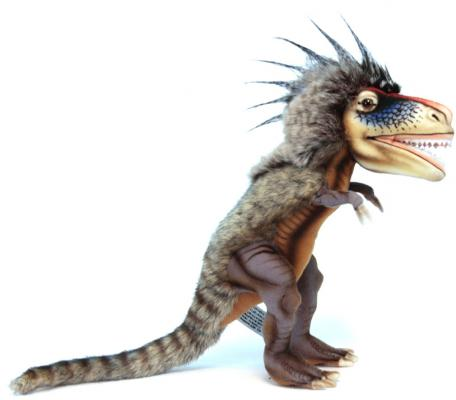 Мягкая игрушка динозавр Hansa Динозавр Ти-рекс искусственный мех синтепон пластик разноцветный 28 см 6159