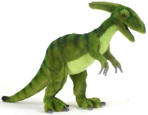 Мягкая игрушка динозавр Hansa Динозавр Паразауролоф искусственный мех синтепон пластик зеленый 52 см 5531