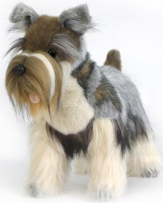Мягкая игрушка собака Hansa Цвергшнауцер серый искусственный мех синтепон серый 45 см 5767 мягкая игрушка бык hansa 5418 искусственный мех серый 16 см