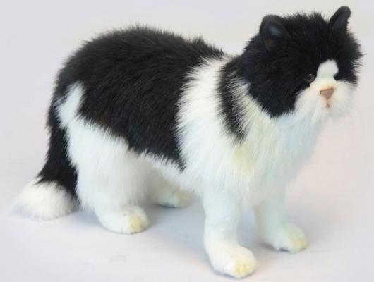 Мягкая игрушка кот Hansa Кот черный искусственный мех синтепон пластик белый черный 46 см 6485 yn 622n nikon flash trigger set